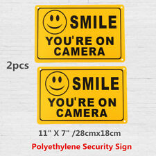 (2) SMILE YOU'RE ON CAMERA Yellow Business Security Sign CCTV Video Surveillance