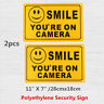 (2) SMILE YOU'RE ON CAMERA Yellow Business Security Sign CCTV Video  / /