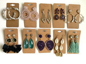Wholesale Lot of 10 Pairs of Statement Earrings Rhinestone  New #256