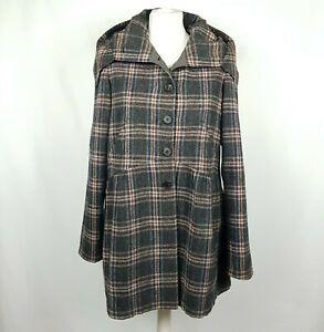 MORGANE LE FAY Womens Wool Tweed Coat M Grey Plaid Hood Peplum Pockets Lined USA