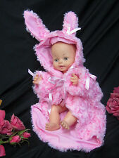 Handmade doll clothes Bunny Rabbit coat Jacket blanket Pink faux Fur 12-18""