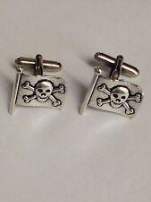 a Pair Of Cufflinks weddings birthday Pirate Skull Flag Pt228 Silver Emblem on