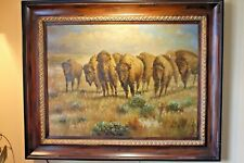 Oil Painting Canvas Wild West Plains Animal American Bison Stampede Large