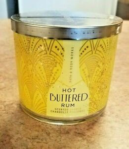 1 BATH & BODY WORKS HOT BUTTERED RUM LARGE 14.5 OZ 3 WICK SCENTED CANDLE