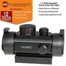 1x30 Holographic red & green dot sight / Weaver rail reflex scope + flip-up lens