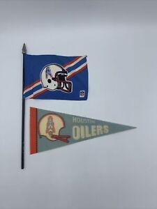 Vintage Houston Oilers 1970's Mini Pennant & Mini Flag - Football NFL