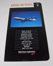 Original Vintage BRITISH AIRWAYS Safety on Board BOEING 747 Airline Card
