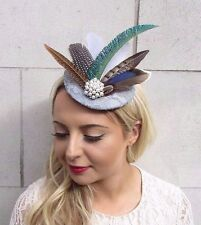 Silver Grey Pheasant Feather Fascinator Races Wedding Pillbox Hat Hair Clip 3692
