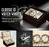 Watch Winder Display Box Automatic Rotation Storage 4+6 Grid Wooden 10 Watches A