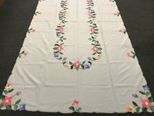 SALE 72x126' Rectangular White Embroidered Floral Embroidery Fabric Tablecloth