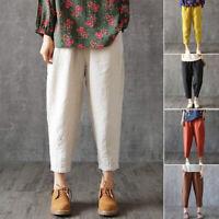Women's Casual Boho Spring Summer Harem Pants Cotton Blend Trousers Plus Size