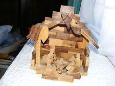 Nativity Scene Set Creche Manger Wood Stable Germany Vintage