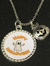 "Happy Halloween w/pumpkin Charm Mix A Charm Tibetan Silver 18"" Necklace"