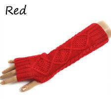 Ladies Solid Fingerless Knit Mitten Women Long Gloves Winter Arm Warmer