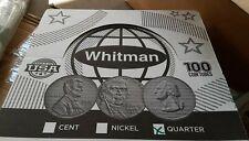 BOX OF 100 ROUND QUARTER COIN TUBES - WHITMAN - NO COINS