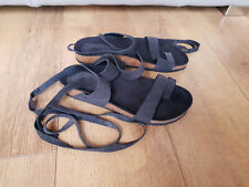 RRP £38 - URBAN OUTFITTERS SANDALS Black Suede Leather Ankle Wrap Strap 7 / 40