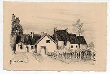 gravure lithographie par Jacques SIMON.Maisons.format carte.Carolles Manche