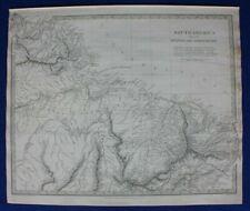 SOUTH AMERICA II, GUYANA, NORTH BRAZIL, original antique map, SDUK, 1844