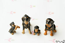 Set of 4 Ceramic Rottweiler Dogs Family Ornaments Collectable Doll Figurine