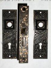 Antique Eastlake Interior Lock with Matching Door Knob Backplates