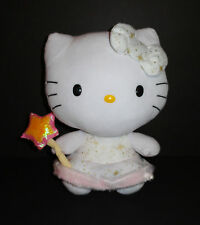 "TY Classic Hello Kitty Plush Pink Dress Gold Wand 12"" Fairy Angel EUC P35"