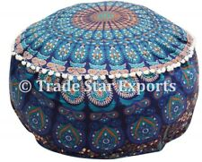 Ethnic Mandala Large Floor Poufs Cover Footstool Seating Round Ottoman Pouffe