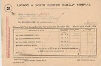 London & North Eastern Railway Company 1924 S/ment Final Dividend Receipt  39750