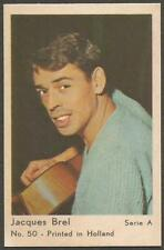 JACQUES BREL  1963 Vtg Dutch Gum Trading Card Serie A no 50  Printed in Holland