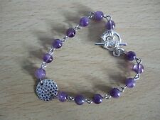 """Silver Plated Copper 8"""" Rosary Chain Amethyst, February's Birthstone, Bracelet"""