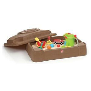 Kiddie Outdoor Pit Molded Seats Outdoor Activity Pretend Play Sandbox Brown NEW