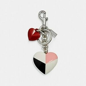 Coach Graphic Checker Heart Bag Charm Keychain 24546 key chain New With Tag