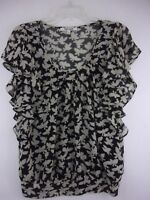 Daniel Rainn Women's Small Gray/Black Bird Print Summer Blouse Top