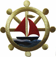 """2839L 4-3/8"""" Marine Sailboat w/Golden Rudder Embroidery Iron On Applique Patch"""