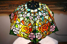 "16""W Zinc Base Roses Flowers Stained Glass Handcrafted Table Desk Lamp"