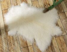 Mongolian Fur Rug Throw Tibetan LambSkin Fur Hide Pelt Curly Hair Carpet White