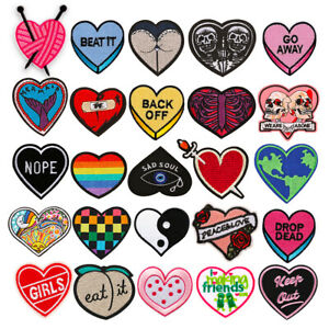 Rainbow Heart Love Embroidery Sew On Iron On Patch Badge Fabric Applique Craft