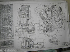 HARLEY DAVIDSON 61ci KNUCKLEHEAD Engine BLUEPRINT EL HD poster print motorcycle