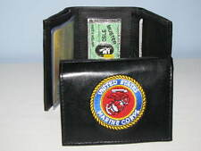 Men's Tri-Fold Wallet, Black Genuine Leather, United States Marine Corps #95F14