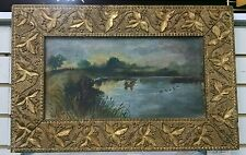"""Oil Painting """"Coot Shooters"""", Canvas ornate gilded gesso frame folk art original"""