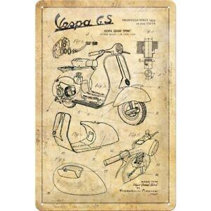 Vespa Parts Sketches Blechschild Schild 3D geprägt gewölbt Tin Sign 20 x 30 cm