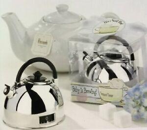 "NEW KATE ASPEN ""It's About Time"" Silver TeaPot Kettle Timer Free Shipping! 3 Av."