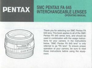 Instruction Manual for SMC Pentax FA 645 Interchangeable Lenses Original