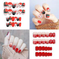 Full Cover Round Fake Nails Nail Art Patch Artificial Christmas False Nail Tip