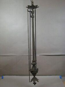 Antique Brass Bronze Hanging Oil Kerosene Chandelier Lamp Spring Rise & Fall