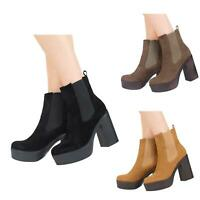 NEW WOMENS LADIES HIGH HEEL PLATFORM PULL UP CHELSEA ANKLE BOOTS SHOES SIZE 3-8