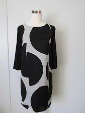 Promod Black/Gray Print Combo Knit 3/4 Sleeve Above Knee Shift Dress SZ: M