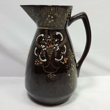 Floral Pitcher Porcelain Brown Gold White Pink Mid Century Vintage 6.5 in Tall