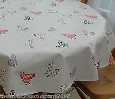 100cm Round Wipe Clean PVC Bistro Tablecloth - Chickens