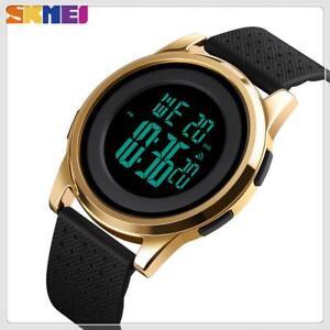 SKMEI Mens Digital Sport Alarm EL 12/24Hour Countdown 50m Waterproof Wrist Watch