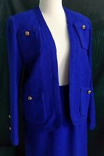 EXC Knit Royal Blue Skirt Suit Vintage Gold Buttons Elastic Waist 8 Made in USA